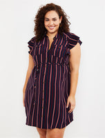 Maternity Plus Size Cap Flutter Sleeves Above the Knee Button Front Striped Print Collared Shirt Dress