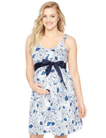 Maternity Sweetheart Sleeveless Above the Knee Pleated Floral Print Dress