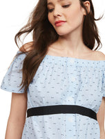 Maternity Dots Print Above the Knee Off the Shoulder Sleeveless Dress