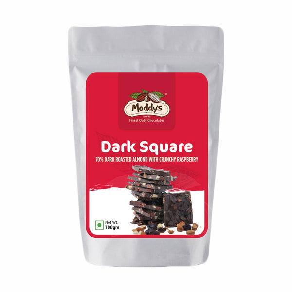 SQUARES - 70% DARK ROASTED ALMOND WITH CRUNCHY RASPBERRY**