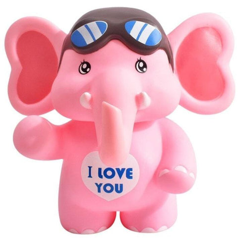 Éléphant aviateur rose tirelire I Love You en plastique