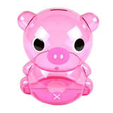 Petit cochon tirelire en plastique transparent rose
