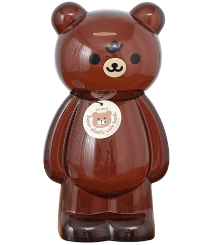 Tirelire géante XXL ours en plastique transparent marron