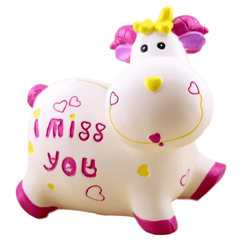 Cadeau tirelire vache rose et blanche I Miss You