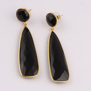 Black Onyx Earrings | Gold Plated Statement Earrings | Post Earrings | Dangle Earrings | Natural Gemstone Earrings | Black Earrings