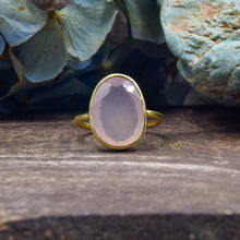 Load image into Gallery viewer, Rose Quartz Ring | Vermeil Sterling Silver 925 | SIZE 6.5 | Statement Ring | Gold Jewelry