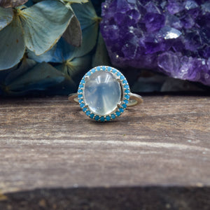 Moonstone and Turquoise CZ Ring | Sterling Silver 925 | SIZE 5.5 | Dome Ring