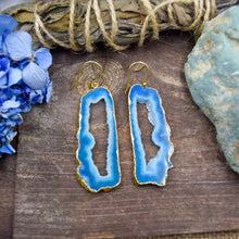 Load image into Gallery viewer, Blue Druzy Slice Earrings | Gold Plated Earrings | Natural Gemstone Jewelry
