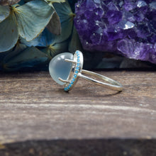 Load image into Gallery viewer, Moonstone and Turquoise CZ Ring | Sterling Silver 925 | SIZE 5.5 | Dome Ring