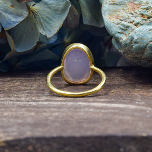 Rose Quartz Ring | Vermeil Sterling Silver 925 | SIZE 6.5 | Statement Ring | Gold Jewelry