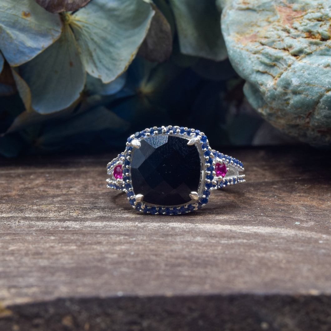Black Onyx and Sapphire Ring | Sterling Silver 925 | SIZE 5.5 | Dome Ring