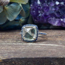 Load image into Gallery viewer, Prasiolite Ring | Sterling Silver 925 | SIZE 7 | Green Amethyst Ring | Sapphire CZ Ring | Pyramid Ring