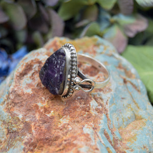 Amethyst Ring | Sterling Silver 925 | SIZE 8.5 | Natural Amethyst Gemstone Ring | Raw Gemstone Ring | Gemstone Jewelry