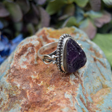Load image into Gallery viewer, Amethyst Ring | Sterling Silver 925 | SIZE 8.5 | Natural Amethyst Gemstone Ring | Raw Gemstone Ring | Gemstone Jewelry