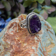 Load image into Gallery viewer, Amethyst Ring | Sterling Silver 925 | SIZE 6.5 | Natural Amethyst Gemstone Ring | Bohemian Jewelry | Gemstone Jewelry
