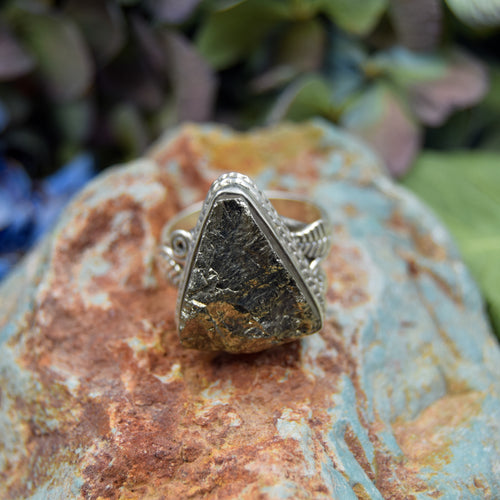 Pyrite Ring | Sterling Silver 925 | SIZE 7.5 | Natural Pyrite Gemstone Ring | Statement Ring | Gemstone Jewelry