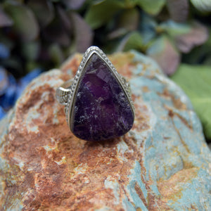 Amethyst Ring | Sterling Silver 925 | SIZE 6.5 | Natural Amethyst Gemstone Ring | Raw Gemstone | Gemstone Jewelry