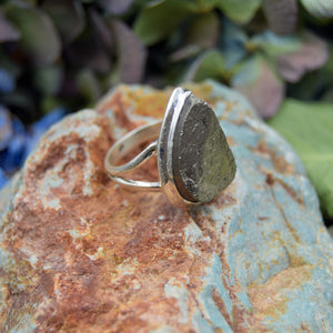 Pyrite Ring | Sterling Silver 925 | SIZE 8 | Raw Gemstone Ring | Boho Jewelry | Metaphysical Stone