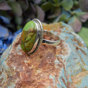 Copper Turquoise Ring | Sterling Silver 925 | SIZE 7.5 | Natural Copper Turquoise Gemstone Ring | Oval Ring | Gemstone Jewelry