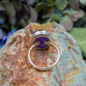 Amethyst Ring | Sterling Silver 925 | SIZE 8.5 | Raw Gemstone Ring
