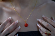 Load image into Gallery viewer, Drop Necklace | Red Teardrop Necklace | Gold Plated Necklace | Simple Necklace