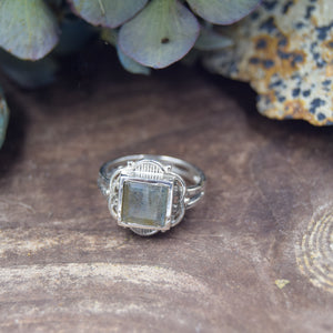 Princess Cut Natural Gemstone Rings | Ornate Sterling Silver Ring | Garnet, Amethyst, Citrine, Moonstone, Labradorite