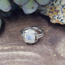 Load image into Gallery viewer, Princess Cut Natural Gemstone Rings | Ornate Sterling Silver Ring | Garnet, Amethyst, Citrine, Moonstone, Labradorite