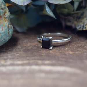Princess Cut Natural Gemstone Rings | Labradorite, Moonstone, Smoky Quartz, Black Onyx | Engagement Ring