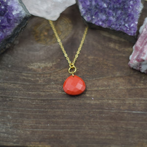 Drop Necklace | Red Teardrop Necklace | Gold Plated Necklace | Simple Necklace