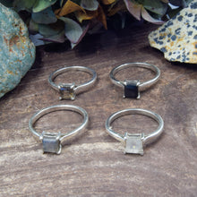 Load image into Gallery viewer, Princess Cut Natural Gemstone Rings | Labradorite, Moonstone, Smoky Quartz, Black Onyx | Engagement Ring