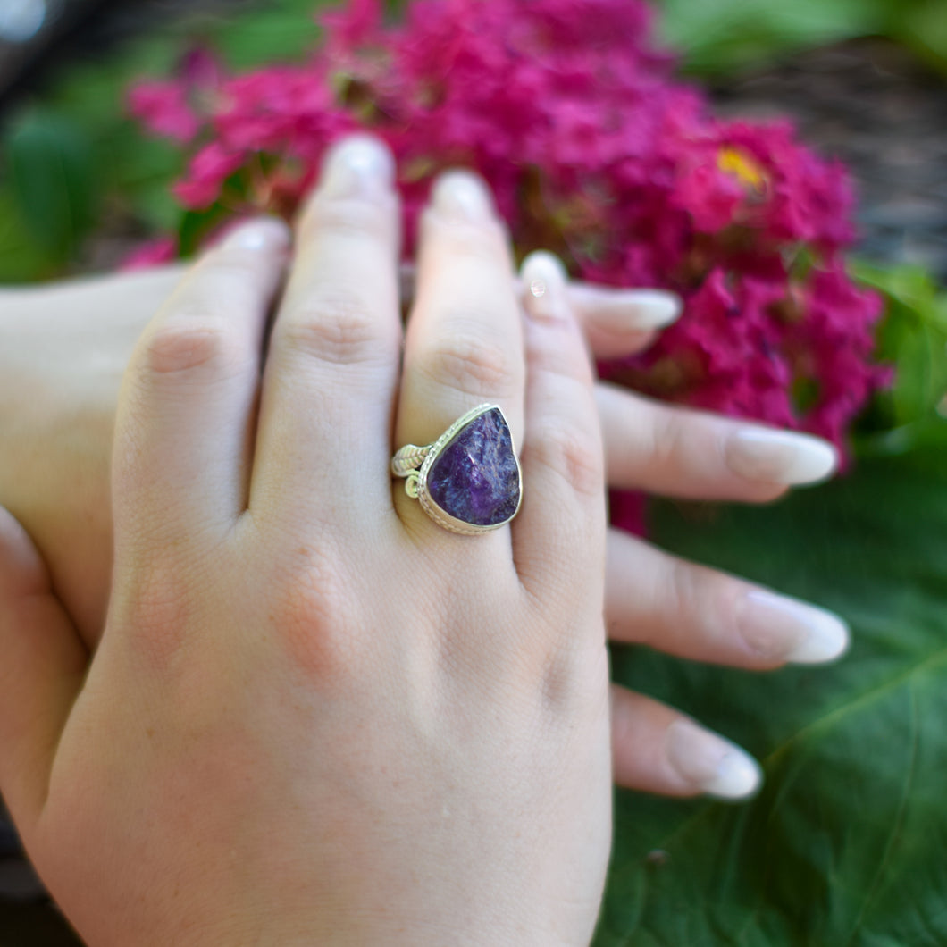 Amethyst Ring | Sterling Silver 925 | SIZE 7.5 | Raw Gemstone Ring | Floral Ring