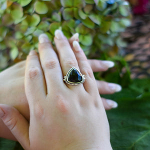 Black Onyx Ring | Sterling Silver 925 | SIZE 7.5 | Natural Onyx Gemstone Ring | Bohemian Ring | Gemstone Jewelry