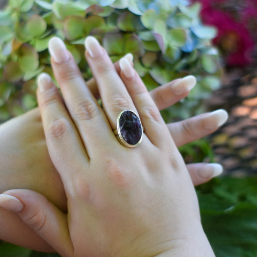 Amethyst Ring | Sterling Silver 925 | SIZE 8 | Natural Amethyst Gemstone Ring | Oval Ring | Gemstone Jewelry