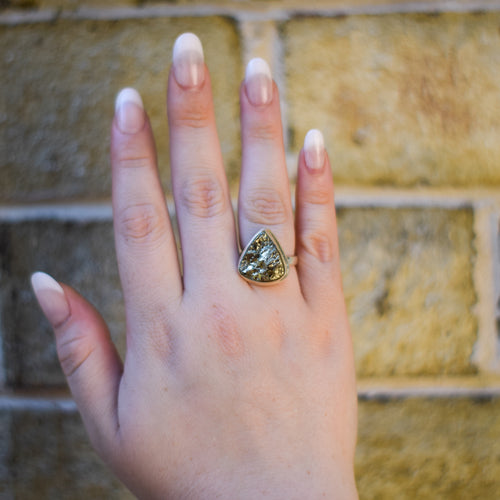 Pyrite Ring | Sterling Silver 925 | SIZE 7.5 | Natural Gemstone Jewelry | Statement Ring