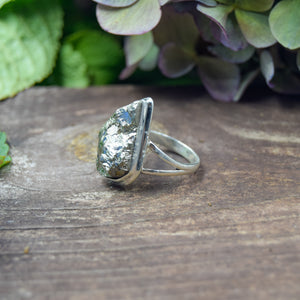 Pyrite Ring | Sterling Silver 925 | SIZE 8.5 | Natural Pyrite Gemstone Ring | Freeform Ring | Gemstone Jewelry