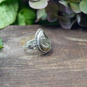 Pyrite Ring | Sterling Silver 925 | SIZE 8.5 | Natural Pyrite Gemstone Ring | Statement Ring | Gemstone Jewelry