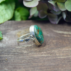 Copper Turquoise Ring | Sterling Silver 925 | SIZE 9 | Natural Copper Turquoise Gemstone Ring | Gift For Her | Gemstone Jewelry