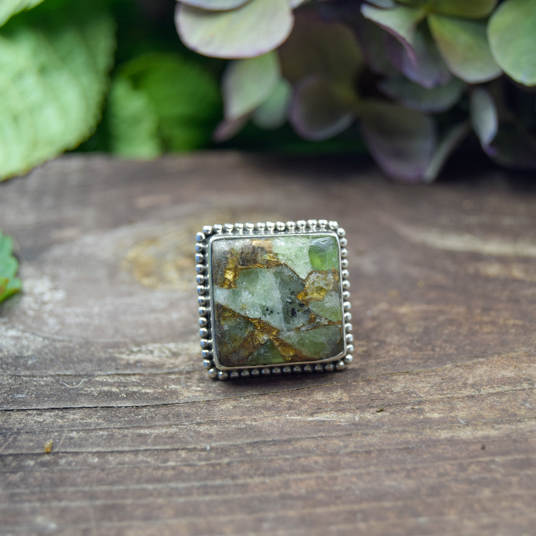 Copper Turquoise Ring | Sterling Silver 925 | SIZE 7 | Natural Copper Turquoise Gemstone Ring | Square Ring | Gemstone Jewelry