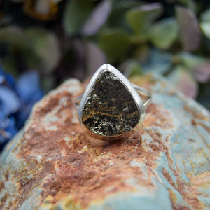 Pyrite Ring | Sterling Silver 925 | SIZE 9 | Natural Pyrite Gemstone Ring | Metaphysical Ring | Gemstone Jewelry