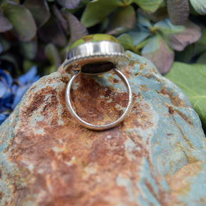 Copper Turquoise Ring | Sterling Silver 925 | SIZE 6 | Natural Copper Turquoise Gemstone Ring | Oval Ring | Gemstone Jewelry