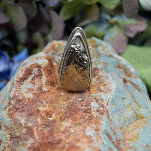 Pyrite Ring | Sterling Silver 925 | SIZE 6.5 | Raw Gemstone Ring | Gemstone Jewelry