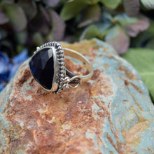 Load image into Gallery viewer, Black Onyx Ring | Sterling Silver 925 | SIZE 7.5 | Natural Onyx Gemstone Ring | Bohemian Ring | Gemstone Jewelry
