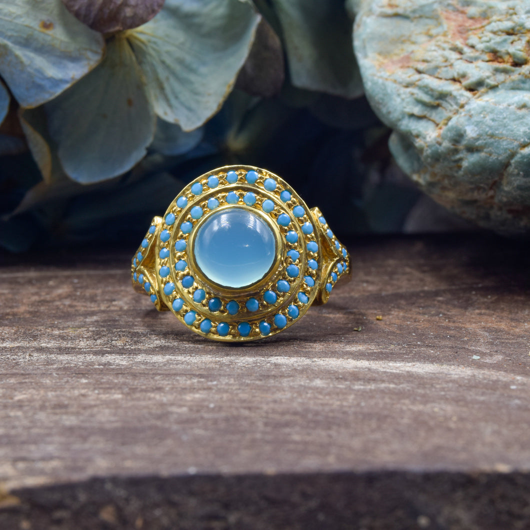 Turquoise & Blue Chalcedony Ring | Vermeil Sterling Silver 925 | SIZE 6.5 | Statement Ring | Gold Jewelry