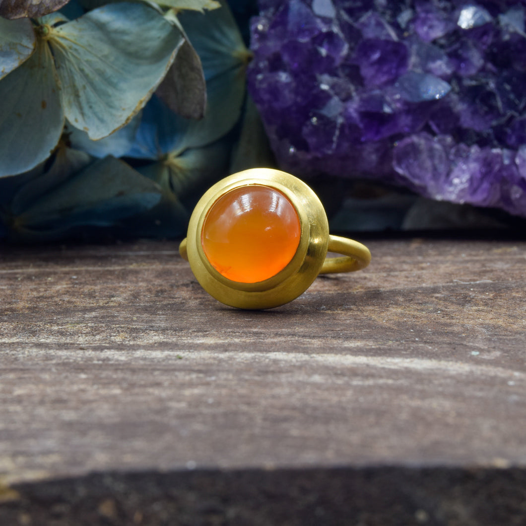 Carnelian Ring | Vermeil Sterling Silver 925 | SIZE 5.5 | Statement Ring | Gold Jewelry