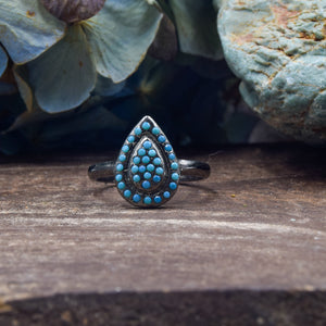 Turquoise Ring | Oxidized Sterling Silver 925 | SIZE 6 | Funky Ring