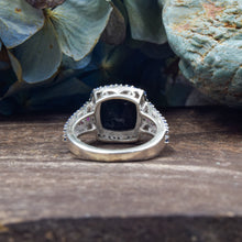 Load image into Gallery viewer, Black Onyx and Sapphire Ring | Sterling Silver 925 | SIZE 5.5 | Dome Ring