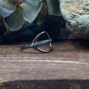 Turquoise Ring | Oxidized Sterling Silver 925 | SIZE 6.5 | Saturn Ring