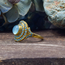 Load image into Gallery viewer, Turquoise & Blue Chalcedony Ring | Vermeil Sterling Silver 925 | SIZE 6.5 | Statement Ring | Gold Jewelry