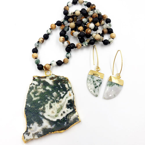 Moss Agate Necklace with Coordinating Earrings