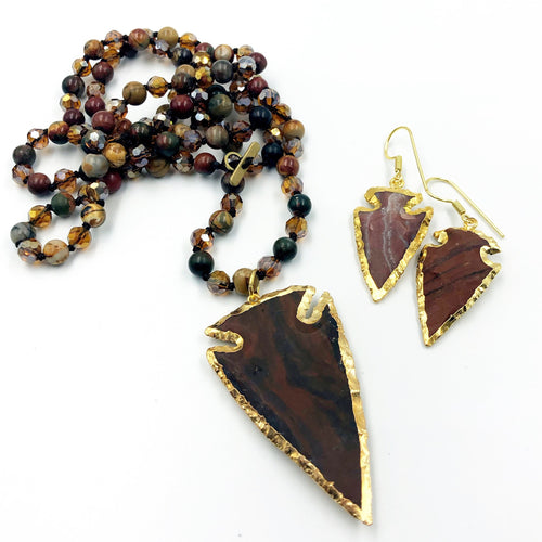 Jasper Arrowhead Necklace with Coordinating Earrings